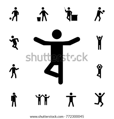 Yoga silhouette man Icon. Set of Silhouettes of people in different activities icons. Premium quality graphic design collection icons for websites, web design on white background