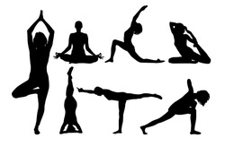 Yoga silhouette. Vector . Figures of girls