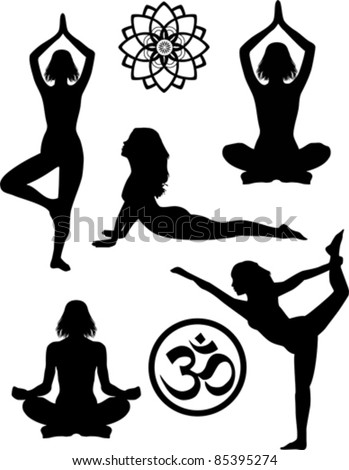 yoga silhouettes and symbols stock vector illustration