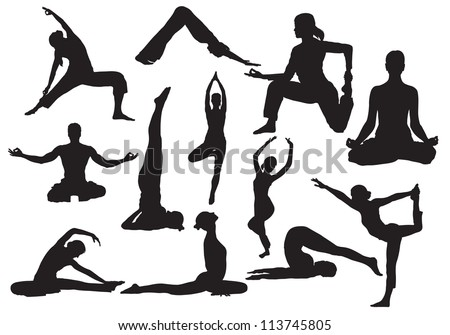 Yoga silhouettes vector - stock vector