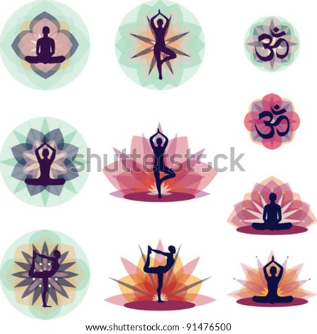 Yoga Silhouettes With Flower Background - Vector Illustration Set EPS10 - stock vector
