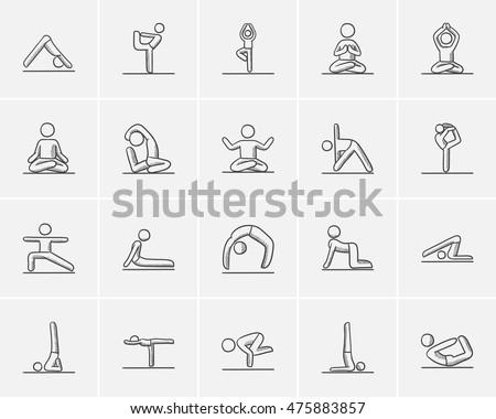 Yoga sketch icon set for web, mobile and infographics. Hand drawn yoga icon set. Yoga vector icon set. Yoga icon set isolated on white background.