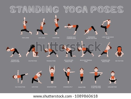 Yoga Standing Poses Vector Illustration
