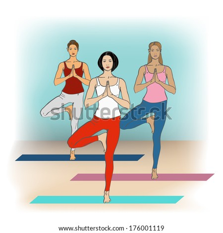 Yoga Studio. Yoga class. Women in yoga poses in yoga class. Girls in yoga poses in yoga studio. Vector yoga illustration.