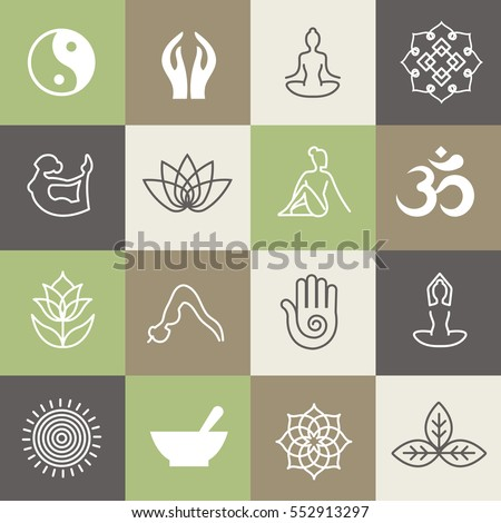 yoga symbols and poses for