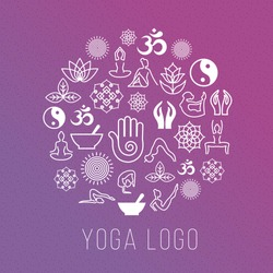 Yoga symbols in round label shape. Vector meditation and spiritual, harmony and health concept. Illustration of human yoga icons on round shape