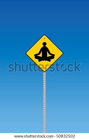 yoga traffic warning on a blue
