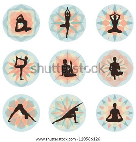 Yoga - vector eps10 illustration set