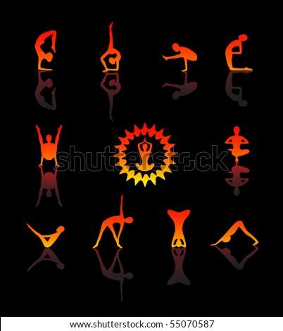Yoga. Vector icon set