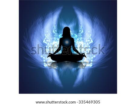 yoga woman meditate dark blue