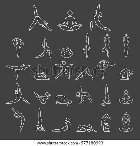 yoga woman poses line icons