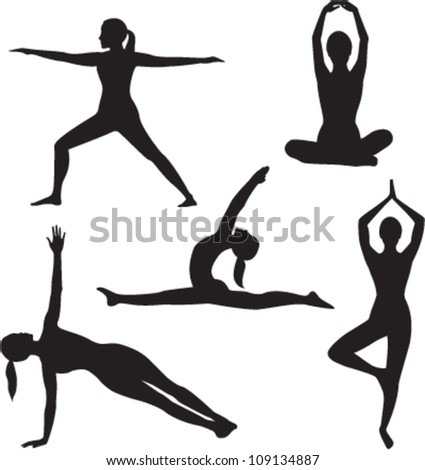 Yoga woman silhouette collection. Vector illustration