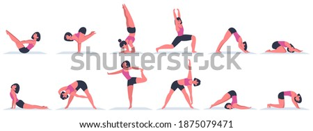 Yoga women. Young female characters doing yoga asanas, physical exercises for healthy lifestyle. Various yoga positions vector illustrations. Stretching gymnastic, physical yoga asana