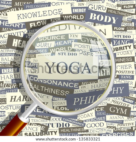 YOGA. Word collage. Vector illustration.