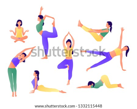 Yoga workout girl set. Women doing yoga exercises. Can be used for poster, banner, flyer, card, website. Warming up, stretching. Vector illustration. Green yellow violet