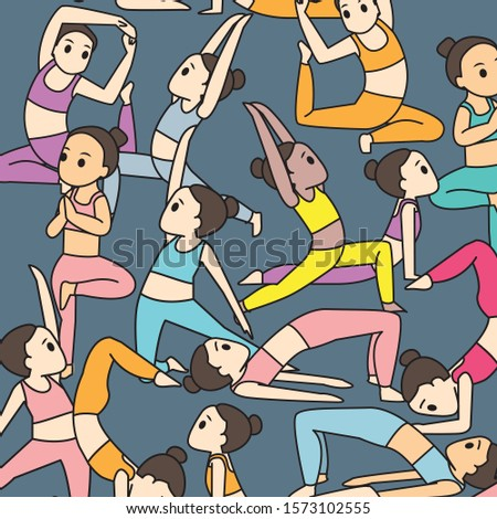 yoga workout healthy crowd seamless pattern vector illustration colorful cute cartoon funny character people strong strong resilient women health