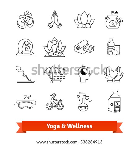 Yoga workout & wellness program. Thin line art icons set. Recreation center, ayurvedic spa therapies, health dieting, meditation practice retreat. Linear style symbols isolated on white.