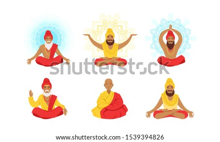 Yogi Men Characters Set, Meditating People in Yoga Lotus Poses Vector Illustration Сток-фото ©