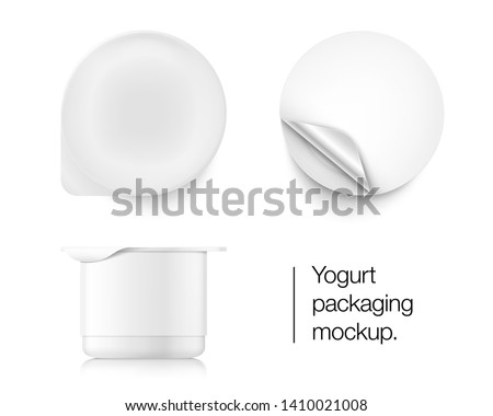 Yogurt container packaging mockup. Vector illustration on white background. Top and side view. Easy to use for presentation your product, idea, design. Front and side view. EPS10. Stockfoto ©