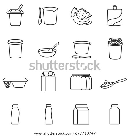 Yogurt. Different types of packages. Assortment of yogurts. Lines with editable stroke. Icons for a website