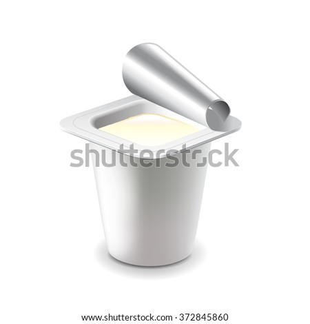 Yogurt in plastic cup isolated on white photo-realistic vector illustration
