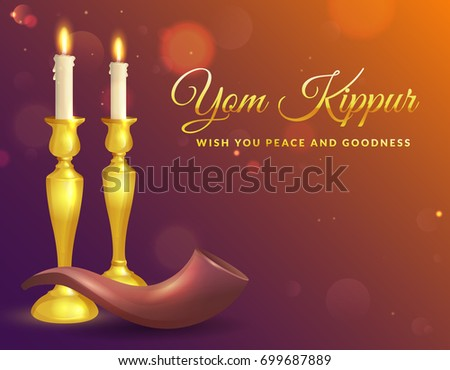 Yom kippur download free vector art stock graphics images yom kippur greeting card with candles and shofar jewish holiday background vector illustration m4hsunfo