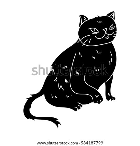 Turkish Angora Icon In Black Style Isolated On White Background Cat