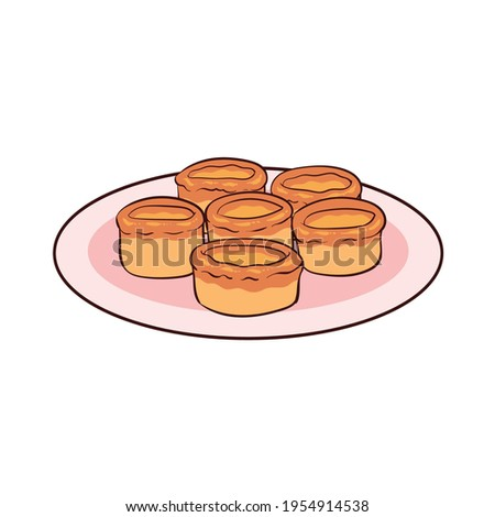 Yorkshire pudding is a type of British food made from a dough of egg flour and milk. Yorksire pudding is popular in the UK. Stock photo ©