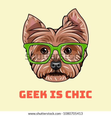 Yorkshire terrier Geek. Smart glasses. Geek is chic. Dog nerd. Vector illustration