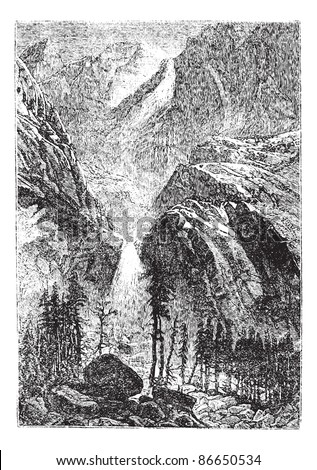 Yosemite Falls in Sierra Nevada, California, United States, during the 1890s, vintage engraving. Old engraved illustration of Yosemite Falls. Trousset encyclopedia (1886 - 1891).