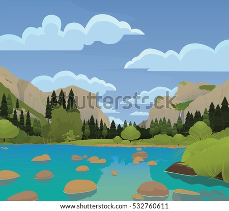 yosemite valley flat vector