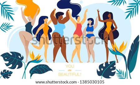 You are Beautiful Horizontal Banner with Company of Happy Multiracial and Multicultural Girls Different Age and Ethnicity Stand in Swim Suits, Body Positive People. Cartoon Flat Vector Illustration Foto stock ©