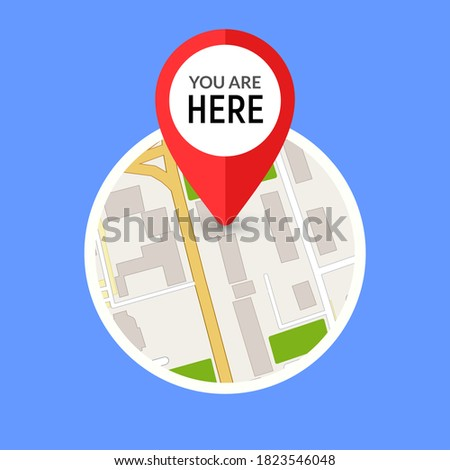 You are here street map gps simple icon. Road gps map here sign pin design Imagine de stoc ©