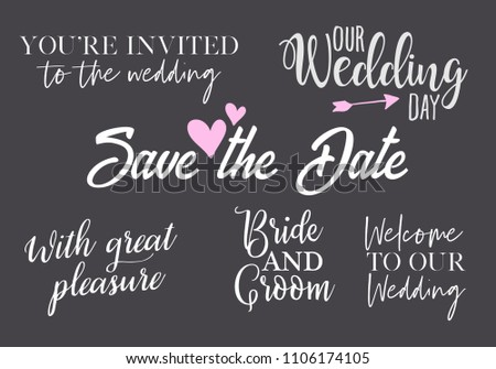 You are invited, save the date, with great pleasure, bride and groom, our wedding day, welcom to our Titles for Card, Invitation. Elegant white Handwritten Calligraphy with pink elements Luxury Labels