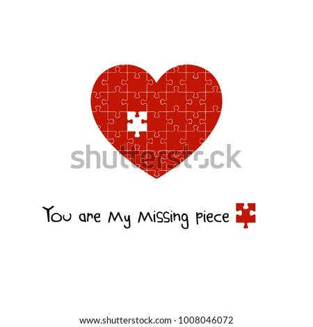 You Are My Missing Piece, Puzzle Heart, Valentine's Day Print, Minimalist Background, Vector Illustration, Home Decor