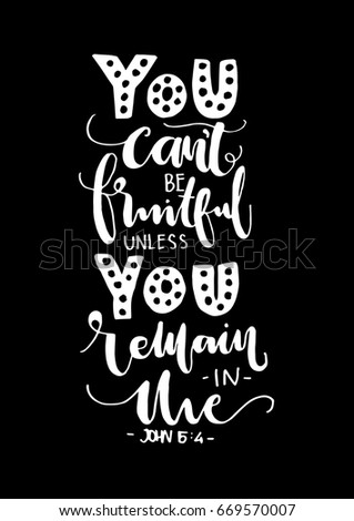 You Cant Be Fruitful Unless You Remain In Me Hand Lettered Quote
