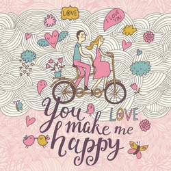You make me happy. Romantic concept background in cute colors. Couple in love on tandem bicycle inside gentle symbols in vector