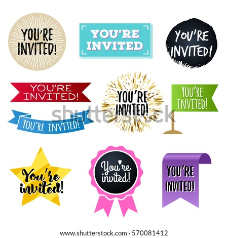 you're invited badges set
