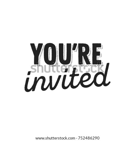 You're Invited Text Vector Illustration Background