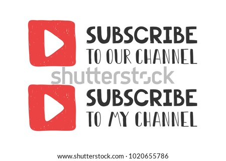 You tube subscribe with play button sign icon. Membership symbol. Red flat button with shadow. Modern UI website navigation. Vector. Social media element