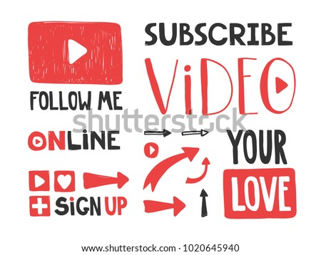 You tube video channel player. Vlog or video blogging or video channel buttons set. Vector illustration. Flat Social Media Background Sign Download. Play Vector Logo. icon stickers