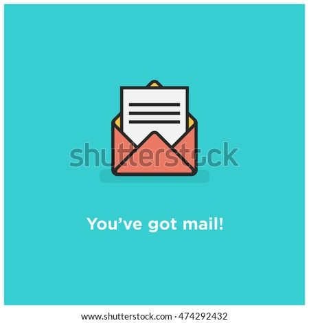 You've Got Mail Envelope (Line Icon in Flat Style Vector Illustration Design)