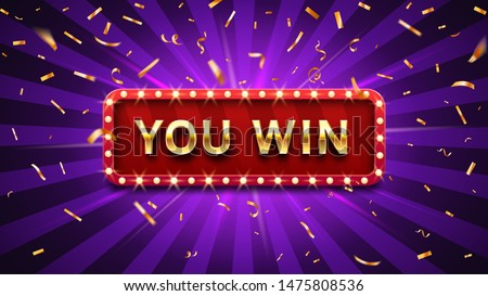 You win banner. Winner congratulations frame, golden win congratulating framed sign and winning gold confetti. Surprise winning, achievement or prize gift notification poster vector illustration
