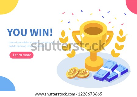 You win concept banner. Can use for web banner, infographics, hero images. Flat isometric vector illustration isolated on white background.