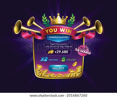 You win screen for game result. victory pop up with golden coins. slots games user interface. casino ui kit. playing cards, slots and roulette