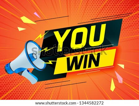 You win word concept vector illustration with megaphone and 3d style for use landing page, template, ui, web, mobile app, poster, banner, flyer, background, gift card, coupon, label, wallpaper