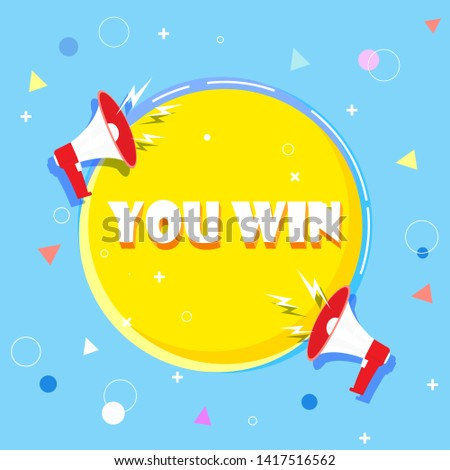 You win word concept vector illustration with megaphone and 3d style, landing page, template, ui, web, mobile app, poster, banner, background, gift card, coupon, label, wallpaper.