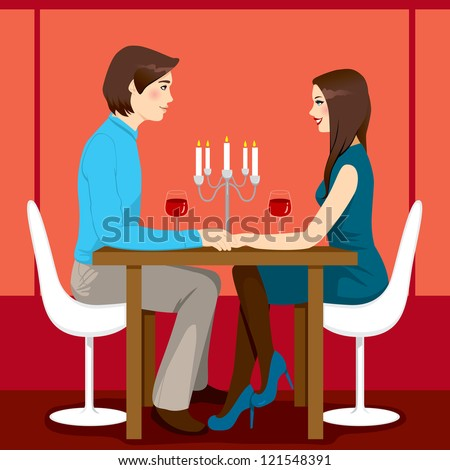 Young adult couple drinking red wine after romantic dinner together in elegant restaurant - stock vector