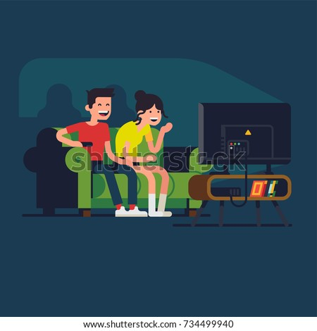 Young adult couple laughing at TV screen watching comedy show or funny family film. Flat vector character design on recreation