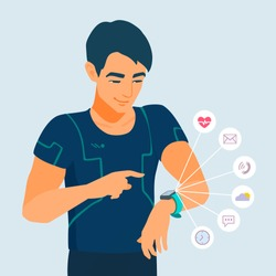 Youngadult man looks at a smart watch. Smiling athlete uses electronic wristwatch. Icons show the functionality of gadget. The runner is watching his activity. Vector flat style cartoon illustration.